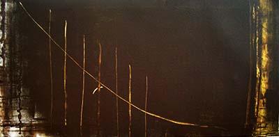 título 2012, esgrafiado, óleo y acrílico sobre lienzo, 50 x 100 cm.